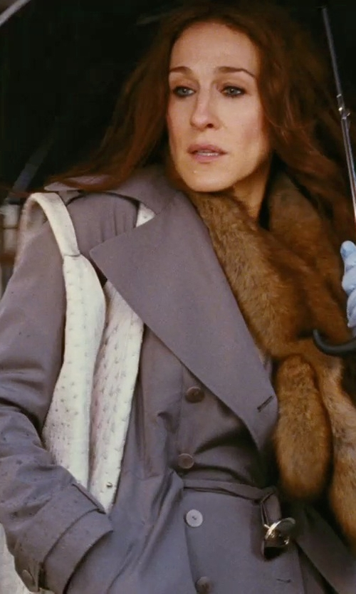 Sarah Jessica Parker with Vionnet Gray Trench Coat in Sex and the City