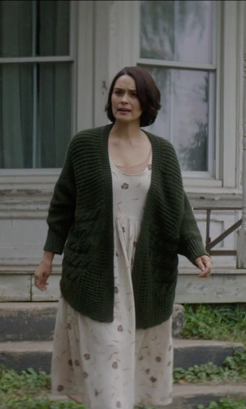 Shannyn Sossamon with Wearall.com Lee Chunky Knitted Long Crochet Cardigan in Sinister 2