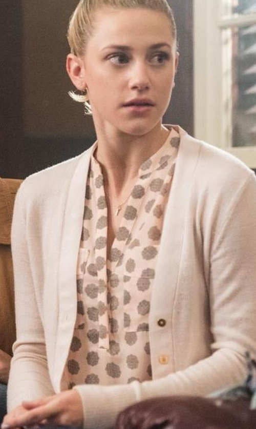 Lili Reinhart with Tory Burch Simone Button-Front Wool Cardigan in Riverdale