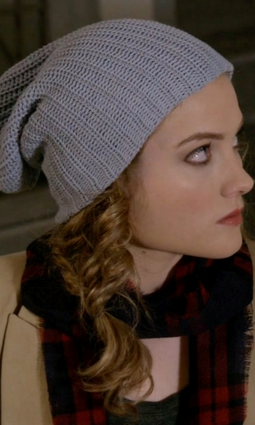 Skyler Samuels with Barneys New York English Rib-Knit Beanie in Scream Queens