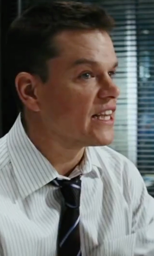 Matt Damon with Isaia Striped Tie in The Departed