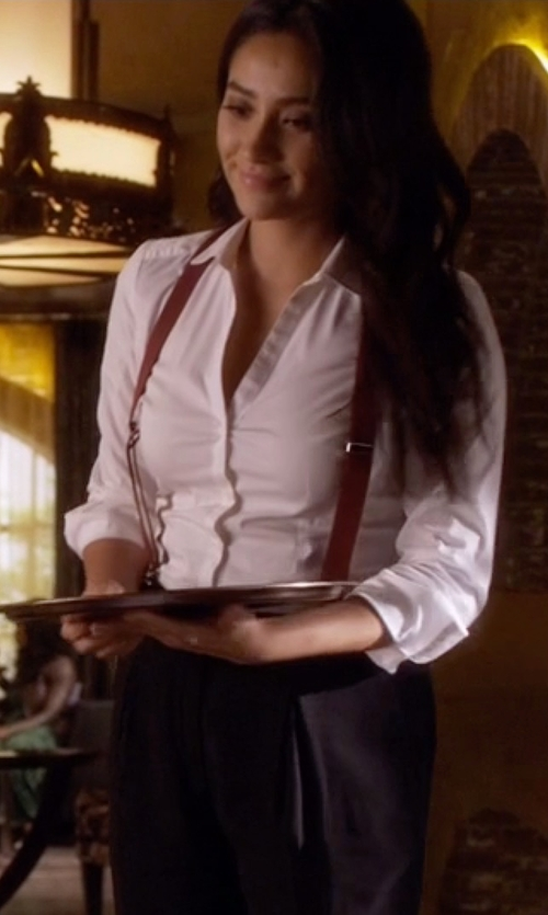 Shay Mitchell with Charter Club Tab-Sleeve Shirt in Pretty Little Liars