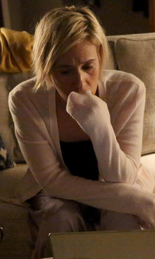 Liza Weil with Eileen Fisher Twisted Terry Kimono Cardigan in How To Get Away With Murder