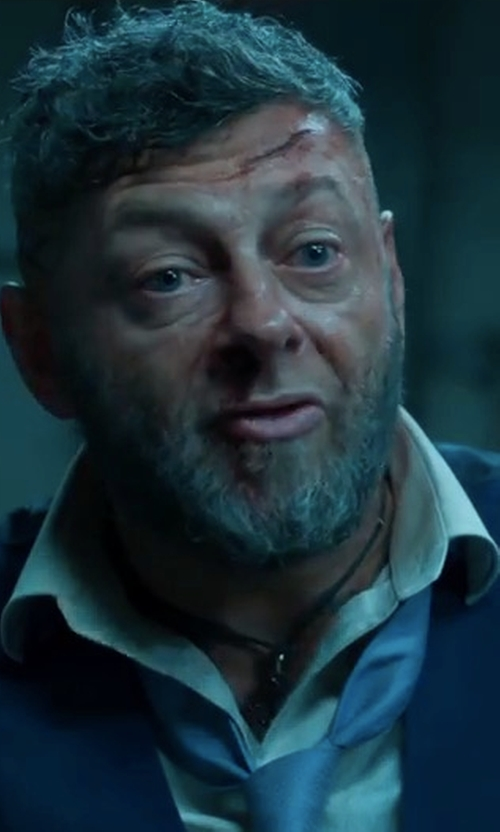Andy Serkis with David Fin Solid Herringbone Tie in Black Panther