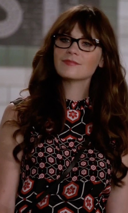 Zooey Deschanel with Sandro Honeycomb Printed Silk Dress in New Girl