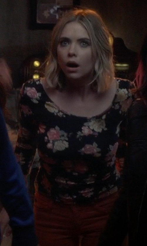 Ashley Benson with Decree 3/4-Sleeve Bodycon Midnight Rose T-Shirt in Pretty Little Liars
