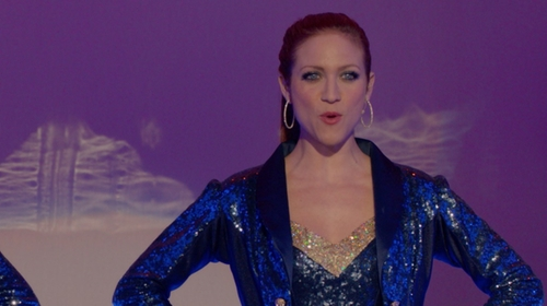 Brittany Snow with Custom Sequin Tuxedo Jacket in Pitch Perfect 2