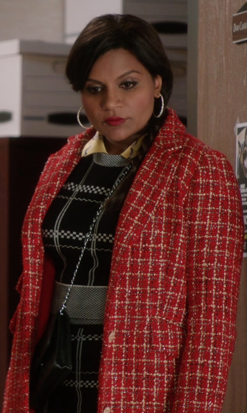 Mindy Kaling with The Salvador Perez Collection Single Breasted Opera Coat in The Mindy Project