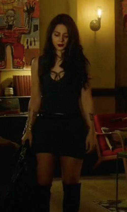 Emeraude Toubia with T by Alexander Wang Rib-Knit Cutout Dress in Shadowhunters