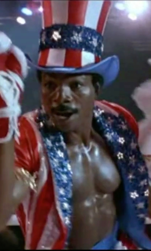 Carl Weathers with Beistle Uncle Sam Costume Accessory Hat Bowtie Beard And Vest Set in Rocky IV