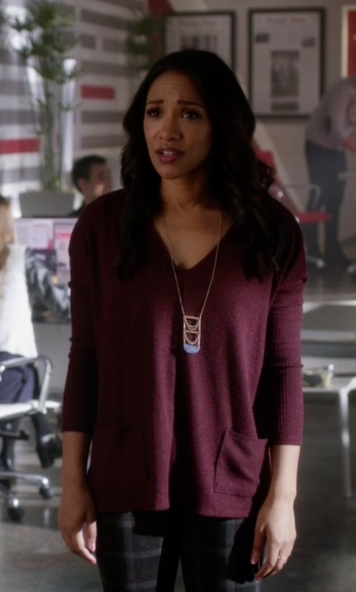 Candice Patton with BDG Mia Pocket Pullover Sweater in The Flash