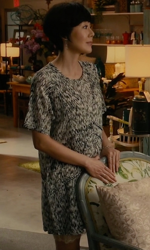 Yunjin Kim with IRO Carline Short-Sleeve Printed Dress in Mistresses