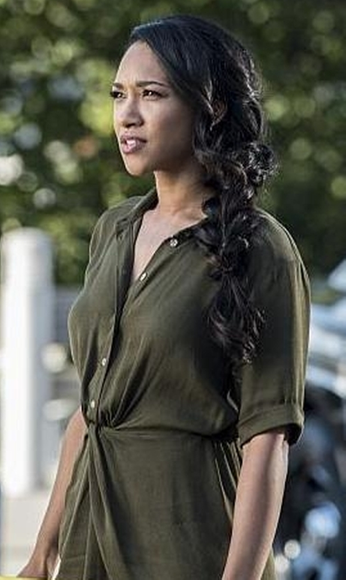 Candice Patton with Topshop Twist Front Shirtdress in The Flash