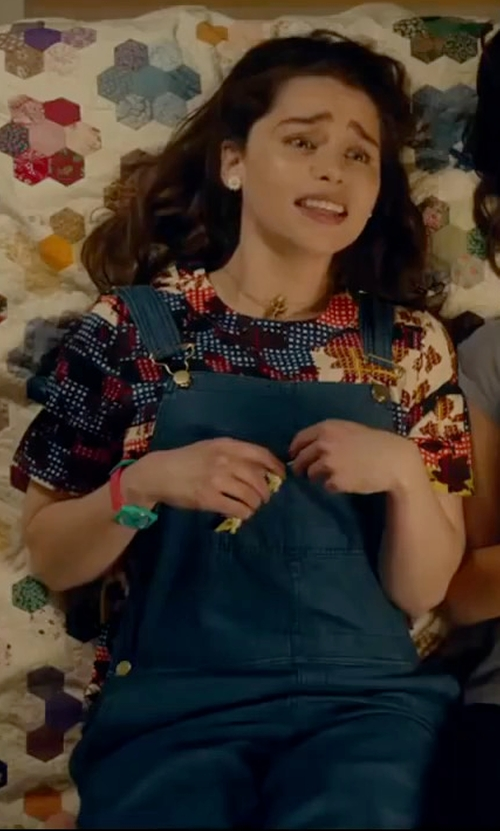 Emilia Clarke with Glamorous Printed Top in Me Before You