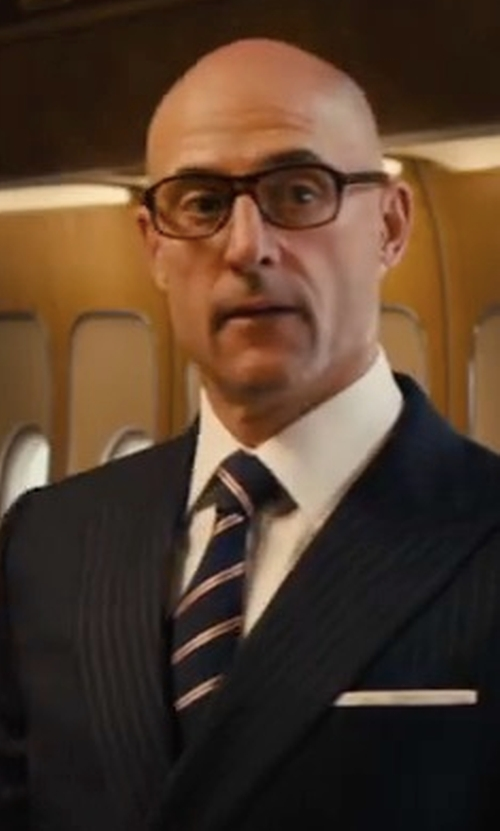 Mark Strong with Drake's Striped Woven-Silk Tie in Kingsman: The Golden Circle