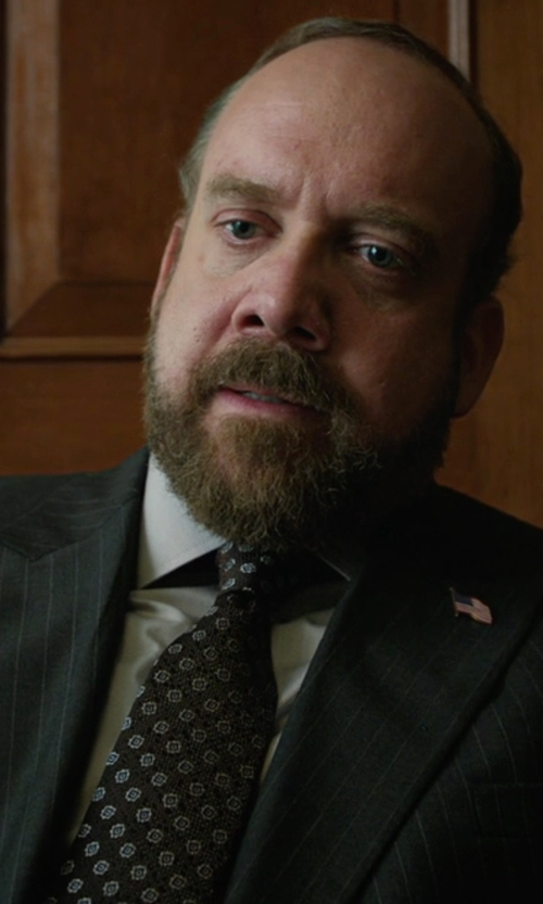 Paul Giamatti with Black Brown 1826 Floral Textured Tie in Billions