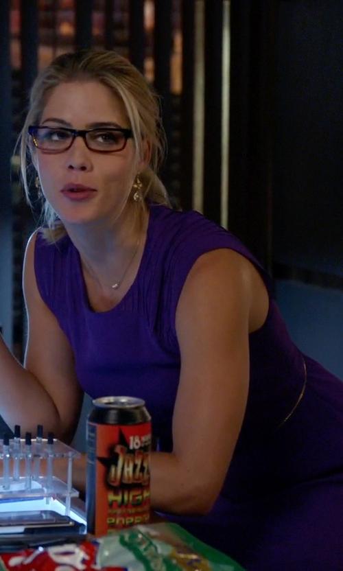 Emily Bett Rickards with Sandro Ravissante Chiffon Mini Dress in Arrow
