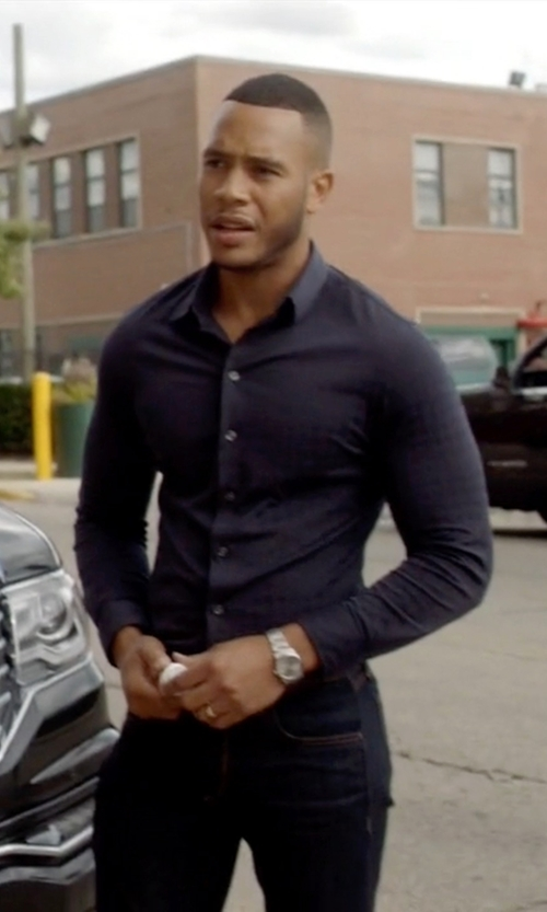 Trai Byers with W.R.K Extra Trim Fit Stretch Check Dress Shirt in Empire