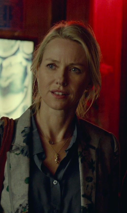 Naomi Watts with House of Harlow Gold-Tone Khaki Leather Sunburst Pendant Necklace in While We're Young
