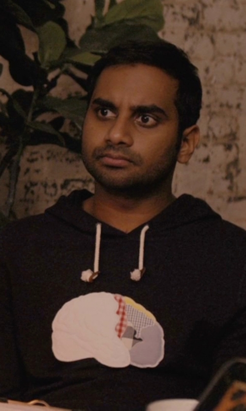 Aziz Ansari with MyrtleBailey Customized Brain Hoodie Sweater in Master of None