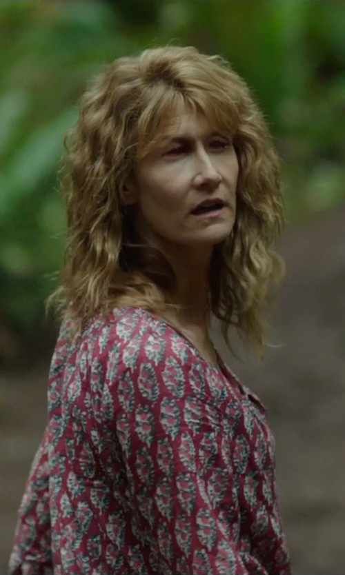 Laura Dern with A.P.C. Printed Cotton Shirt in Wild