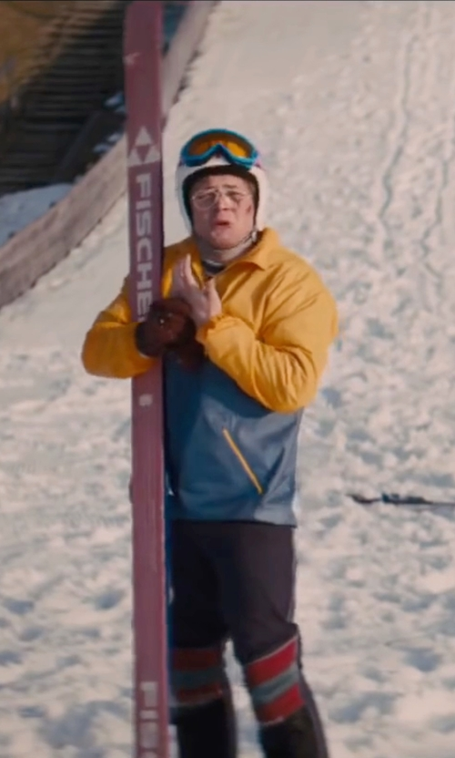 Taron Egerton with Invicta Light Nylon Puffer Jacket in Eddie The Eagle