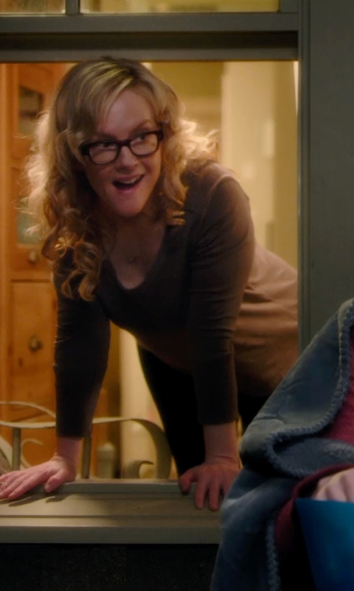 Rachael Harris with American Apparel Sheer Jersey Long Sleeve T Shirt in Barely Lethal