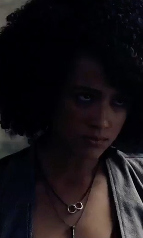 Nathalie Emmanuel with Allegra K Double Breasted Split Back Long Vest in The Fate of the Furious