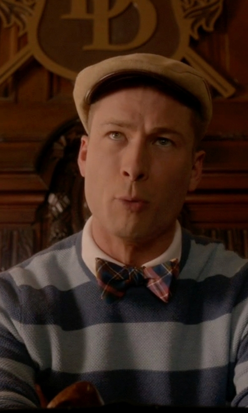 Glen Powell with Brooks Brothers Cotton Cashmere Stripe Crewneck Sweater in Scream Queens