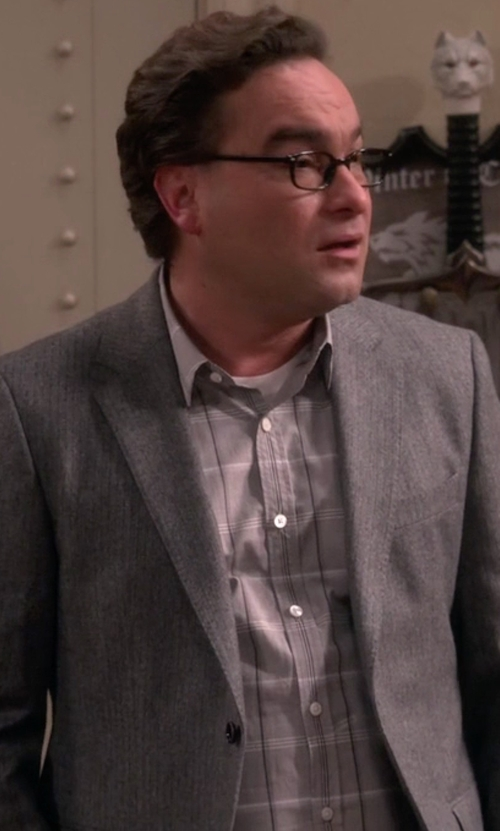 Johnny Galecki with Ike Behar Check Dress Shirt in The Big Bang Theory