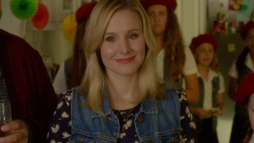 Kristen Bell with Cupcakes And Cashmere 'Nadetta' Floral Print Blouse in The Boss