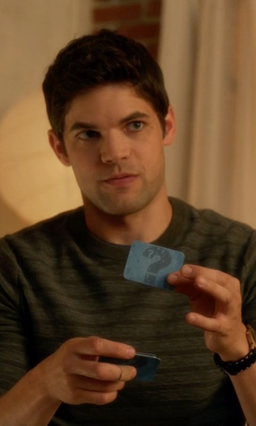 Jeremy Jordan with Akribos Black Genuine Leather And Dial Watch in Supergirl