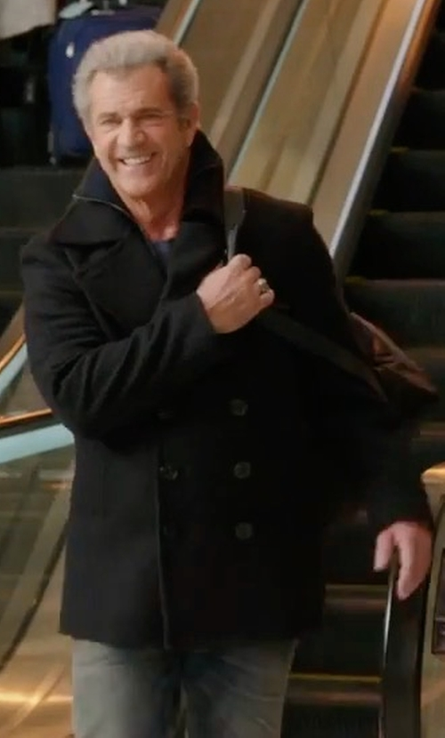 Mel Gibson with Golden Goose Double Breasted Coat in Daddy's Home 2