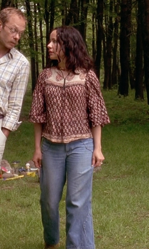 Janeane Garofalo with Articles of Society Red Label 'Fargo' Flare Jeans in Wet Hot American Summer