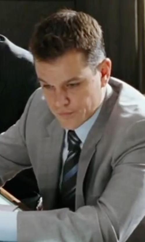 Matt Damon with Massimo Bizzocchi Stripe Silk Tie in The Departed