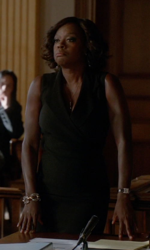 Viola Davis with Victoria Beckham Tux Lapel Fitted Dress in How To Get Away With Murder