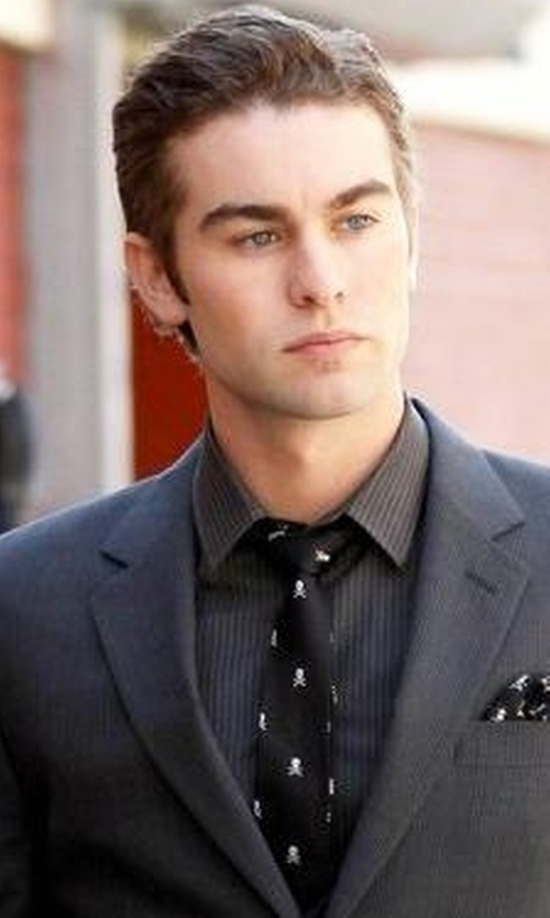 Chace Crawford with The Tie Bar Skull And Crossbones Tie in Gossip Girl