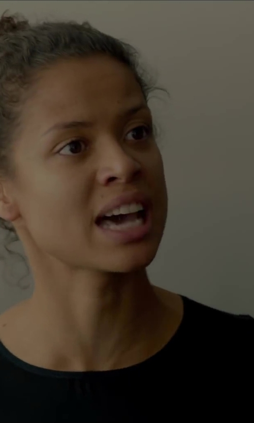 Gugu Mbatha-Raw with ATM Anthony Thomas Melillo Long Sleeve Micromodal Crew Neck T-Shirt in Beyond the Lights