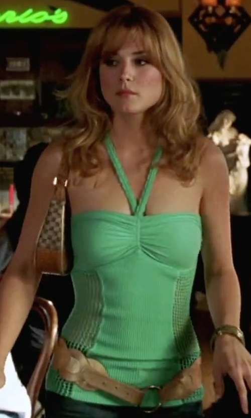Alexandra Breckinridge with Michael Stars Lycra Twisted Front Halter Top in She's The Man