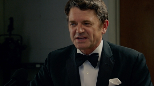 John Michael Higgins with Brooks Brothers Black Fleece Wool Tuxedo in Pitch Perfect 2