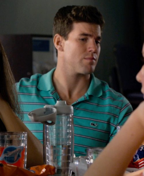 Damon Sementilli with Vineyard Vines Hawker Stripe Jersey Polo Shirt in Dolphin Tale 2