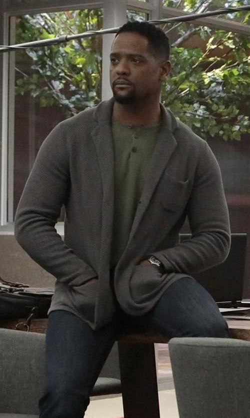 Blair Underwood with Theory Berner New Sovereign Collared Cardigan in Quantico