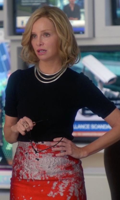 Calista Flockhart with Beau Souci Ribbed Short Sleeve Sweater in Supergirl