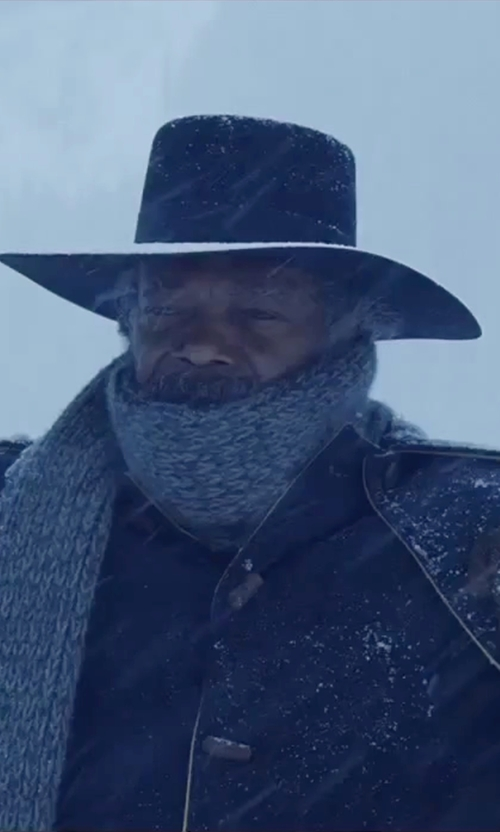 Samuel L. Jackson with Gaspar Gloves Custom Made 'Major Marquis Warren' Leather Gloves in The Hateful Eight