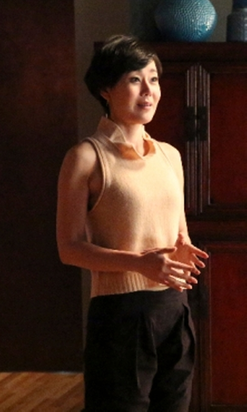 Yunjin Kim with Jil Sander Sleeveless Sweater in Mistresses