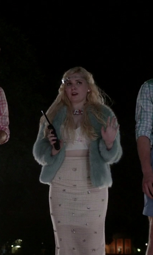 Abigail Breslin with J. Crew Collection Beaded Pencil Skirt in Scream Queens