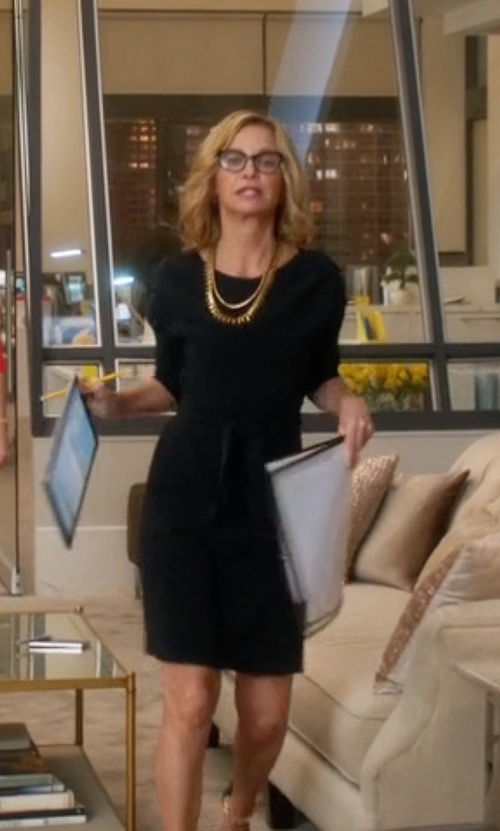 Calista Flockhart with Sportmax Francis Dress in Supergirl