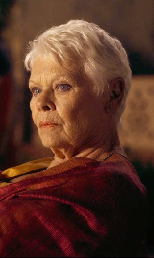 Judi Dench with Jennifer Meyer Cone Stud Earrings in The Second Best Exotic Marigold Hotel
