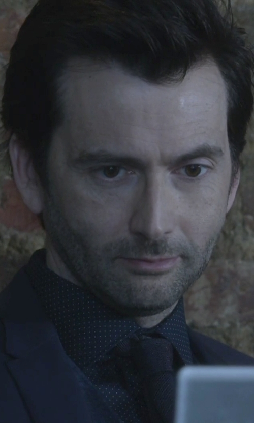 David Tennant with Burberry Slim Fit Polka Dot Cotton Shirt in Jessica Jones