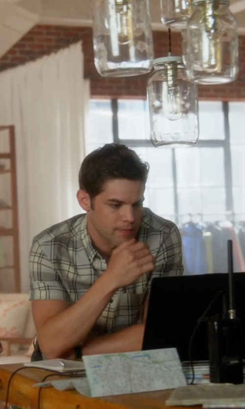Jeremy Jordan with Guess Lincoln Dobby Plaid Shirt in Supergirl
